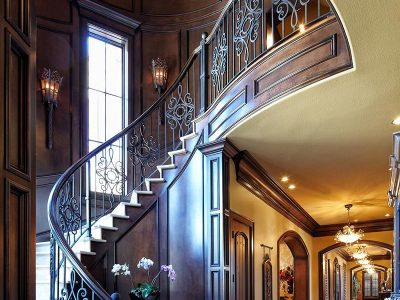 Luxury interior staircase details designed by Sam Vercher