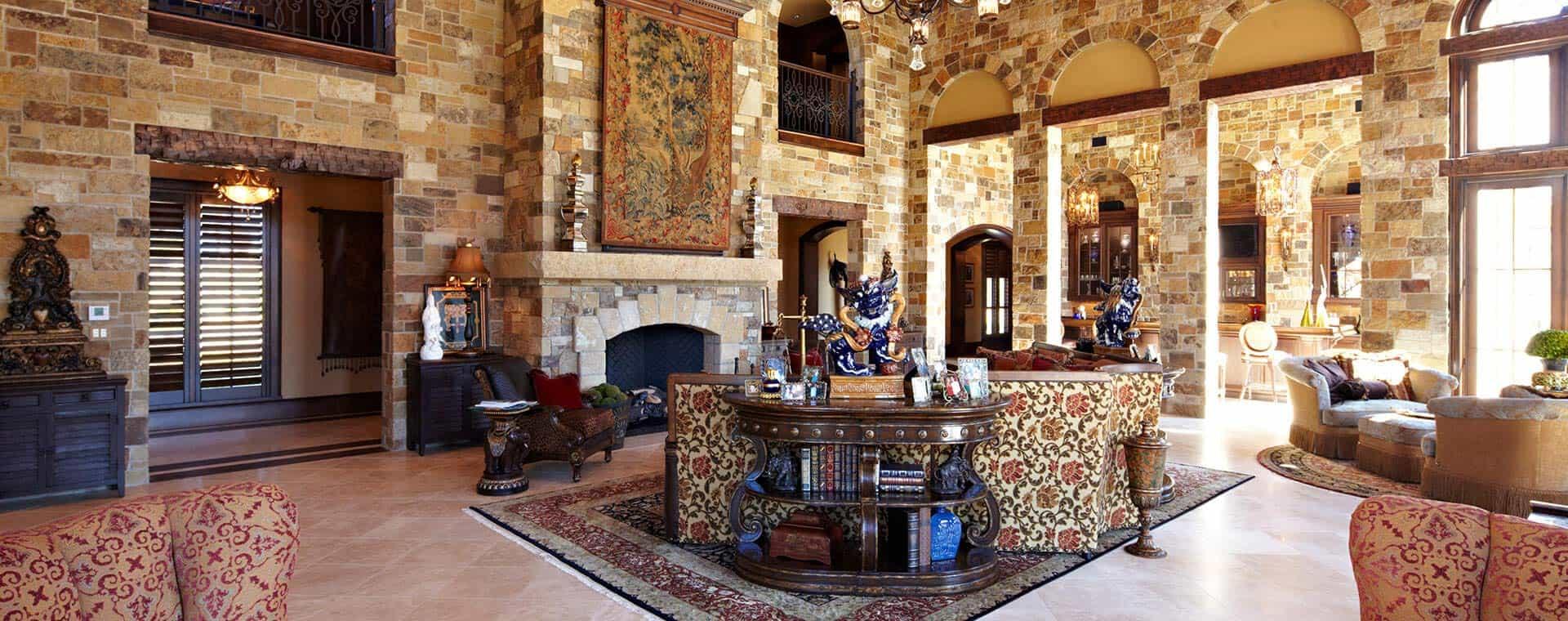 Living room area of a home designed by Custom Home Builder Sam Vercher