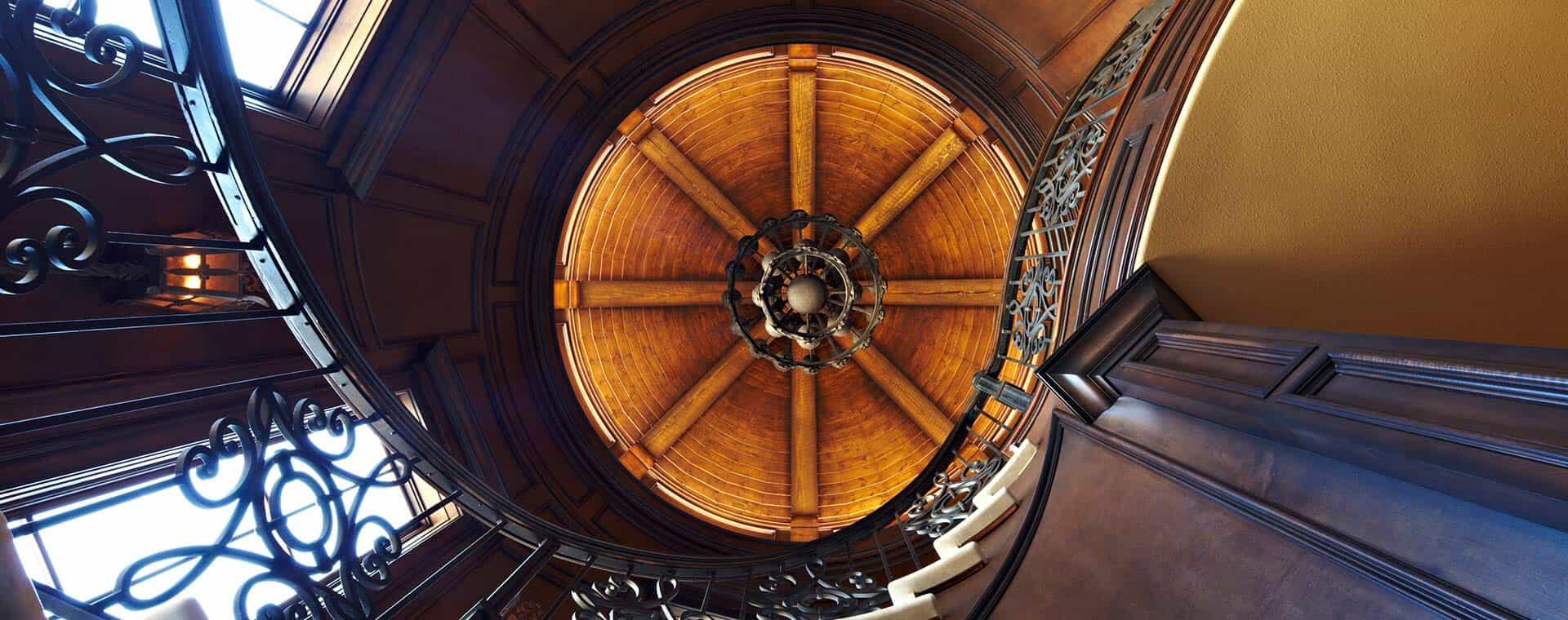 Ceiling of a home designed by Custom Home Builder Sam Vercher